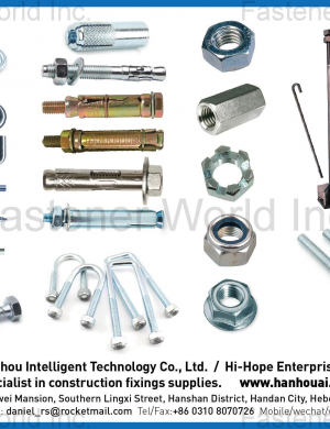 Hook Screws / Eye Screws / Hex Lag Screws / Sleeve Anchors / Wedge Anchors / U Bolts / Foundation Bolts / Threaded Rods / Nut / Riggings / Strut Channel and Accessories / Grooved Pipe Fittings